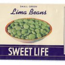 Sweet Life Lima Beans Brooklyn NY Vintage Can Label