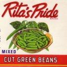 Rita's Pride Green Beans Vintage Can label Sheridan NY