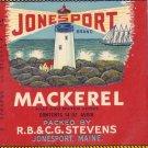 Jonesport Mackerel Lighthouse ME Vintage Can Label