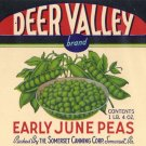 Deer Valley Early June Peas Vintage Vegetable Can Label Somerset PA