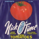 Nick O'Time Tomatoes Carthage IN Vintage Can Label