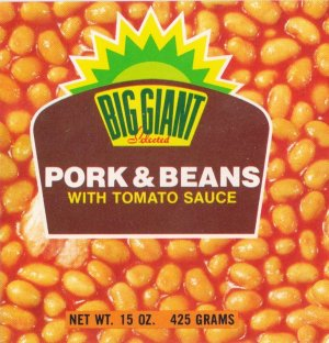 Big Giant Pork and Beans Vintage Vegetable Can Label Dallas TX
