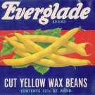 Everglade Yellow Wax Beans Carnation WA Vintage Vegetable Can Label
