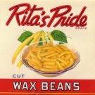 Rita's Pride Wax Beans Vintage Can label Sheridan NY