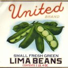United Lima Beans Brooklyn NY Vintage Gilded Can Label Litho