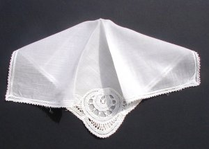 Vintage Brussels Lace Handkerchief 11 in.