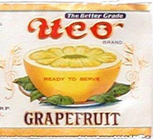 Vintage Can Label UCO Grapefruit Newark NJ Embosed Gilt