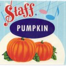 Vintage can label Staff Pumpkin Store Brand New York Music Notes