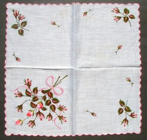 Vintage Hanky Embroidered and Printed Roses Handkerchief