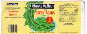 Vegetable Can Label Cherry Valley Green Beans Jewel Stores