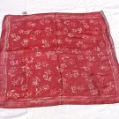 Vintage Silk Scarf Burgundy Floral Made in Japan 20&quot;