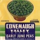Vegetable Can Label Conemaugh Valley Peas Meyersdale PA overprint