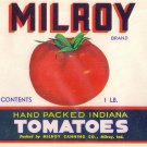 Vegetable Can Label Milroy Tomaotes Milroy Indiana