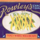 Vegetable Can Label Rowley's Wax Beans Embossed Gilt