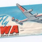 TWA Airline Luggage Label 4 Prop Plane Vintage Unused
