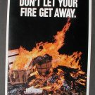 1972 Fire Prevention Poster Smokey Bear Logo Cardboard