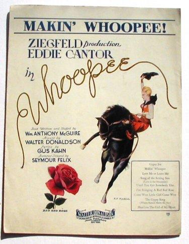 Vintage Sheet Music Makin' Whoopee Ziegfield Eddie Cantor 1928 Deco Cowgirl