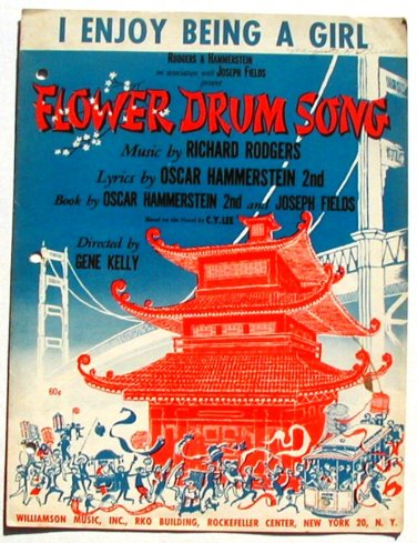Vintage Sheet Music I Enjoy Being A Girl Flower Drum Song