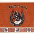 Cigar Box Label Red Tips Horse Shoes Top Wrap Vintage