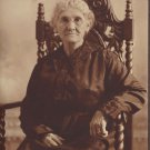 Antique Photograph White Haired Older Woman Glasses Carved Chair Sepia Photo