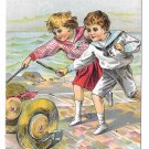 Dr Free's York PA Dental Parlors Children Hoop Rolling Hats Victorian Trade Card