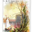 "Victorian Trade Card V A Stein Merchant Tailor Sailboat 4 1/2"" X 3"" York PA"