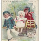 York PA Victorian Trade Card Jno Graybill Electrician Boy in Sailor Suit Pulling Cart