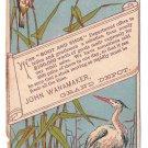 Victorian Trade Card John Wanamaker 1878 Shoes Boots Philadelphia Stork Crane