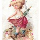 1895 Prudential Insurance Victorian Trade Card Affectation Girl Ducks Newark NJ