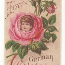 VictorianTrade Card Hoyt's German Cologne J W Creasus Rose Girl Amesbury MA