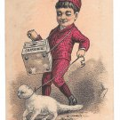 Victorian Trade Card York PA Organ Grinder Cat Mathias Bros Grocer Confectionery