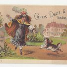 Victorian Advertising Trade Card Curtis Davis & Co Welcome Soap Girl Dog Boston MA