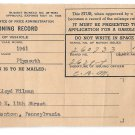 WWII Mileage Gas Rationing Record 1944 Allentown PA Lloyd. Wieder Civilian