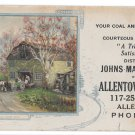 "PA Allentown Supply Co Advertising Card Johns Manville Roofing Coal Ice 9"" X 4"""