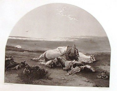 Steel Engraving The Soldiers Death Bed 1854 J W Glass Ornaments of Memory