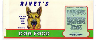 German Shepherd Rivet's Dog Food Vintage Can Label Joliet IL