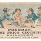 Freeman One Price Clothier Victorian Trade Card Asylum St Hartford CT Cupid
