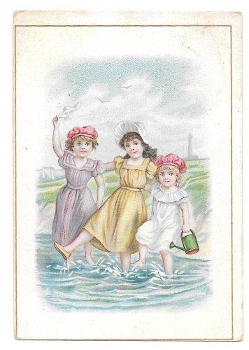 Victorian Trade Card Brussells L Pagnier & Co Pasta Pates Children Girls Ocean