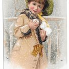 Victorian Trade Card Briggs Pianos Boston MA Pretty Girl Snowballs Winter 1909 Bufford