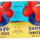 Vegetable Can Label Santa Fe Tomato Juice Arkansas City Kansas 13 3/4 X 6 3/4