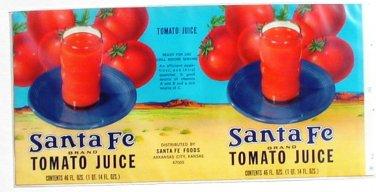 Vegetable Can Label Santa Fe Tomato Juice Arkansas City Kansas 13 3/4 X 6 3/4
