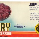 Vegetable Can Label Jory Loganberries Salem OR 1lb 5 oz Vintage