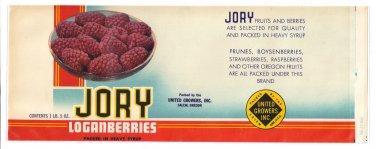 Vegetable Can Label Jory Loganberries Salem OR 1lb 5 oz Vintage
