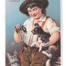 Victorian Trade Card Advertising James Pyles Pearline Soap Boy Dog Cat Crawdad