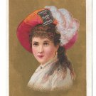 Victorian Trade Card Burdock Bitters Lady Feathered Hat Gold Background