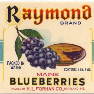 Vegetable Can Label Raymond Blueberries Portland Maine 1 lb 3 oz Vintage