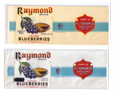 2 Raymond Maine Blueberries Portland ME Can Labels 1lb 3oz 1lb 4oz Embossed Gilt