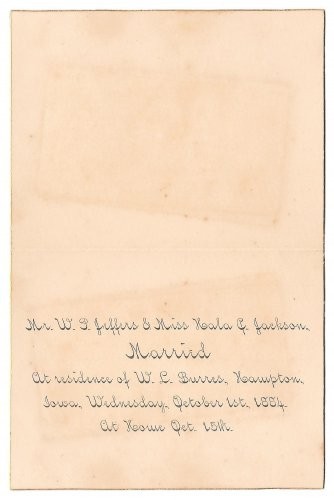 1884 Marriage Announcement Hampton Iowa WP Jeffers to Hala Jackson with Photos Genealogy
