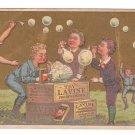 Victorian Trade Card Lavine Soap Children Blowing Bubbles Soapboxes
