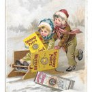 Victorian Trade Card Stickney & Poor's Mustard Spices Boston MA Children Sledding